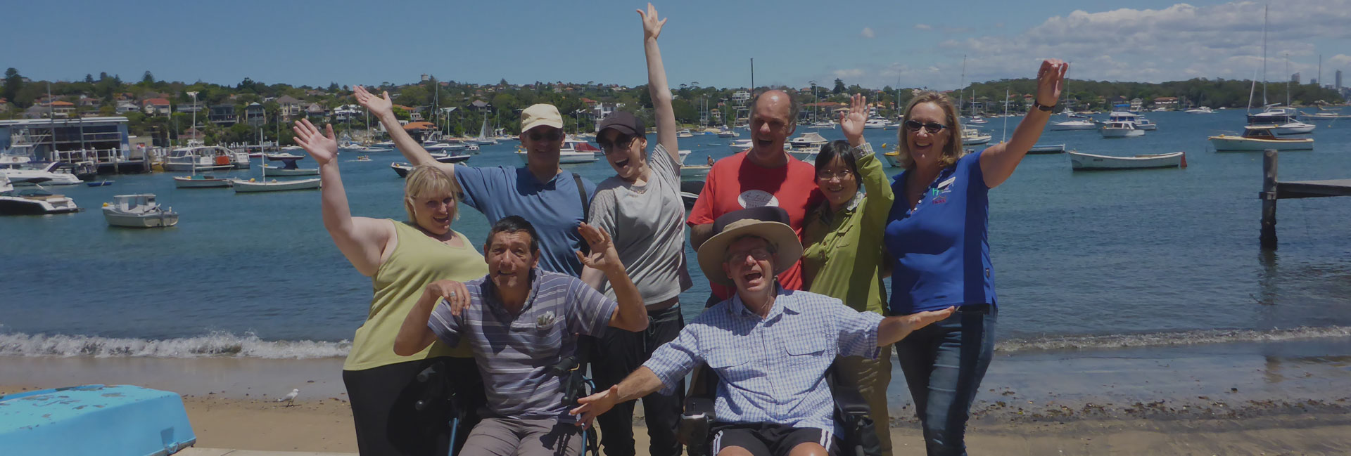 Photo of people with disabilities at Manly Beach