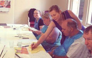 Rebecca Gentz facilitating an art class